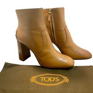 Tod's Studded Heel Tan Ankle Boots, New in Box